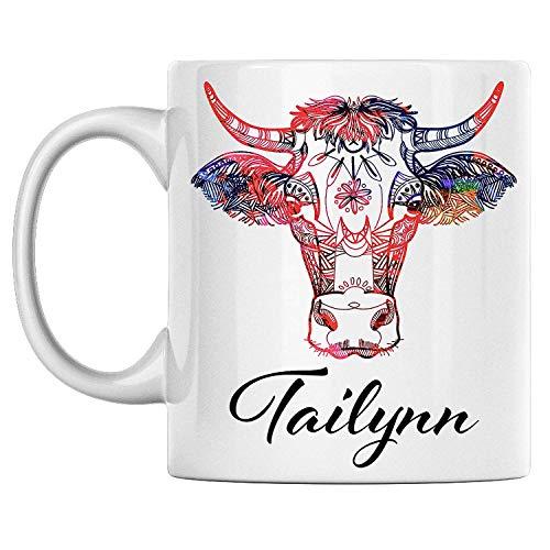 N\A Taza de Vaca Personal Nombre Tailynn Taza de café de cerámica Blanca Impresa en Ambos Lados, cumpleaños para él, Ella, niño, niña, Esposo, Esposa, Hombres y Mujeres