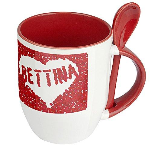 Namenstasse Bettina - Löffel-Tasse mit Namens-Motiv Blumenherz - Becher, Kaffeetasse, Kaffeebecher, Mug - Rot