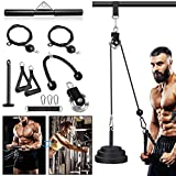 Fitness LAT and Lift Pulley System - Dual Cable Machine with Weight Plates, Loading Pin for Exercise...