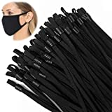 TOOVREN Upgraded Length 50 Pieces Sewing Elastic String for Masks with Adjustable Buckle, Stretchy Elastic Rope Elastic Strap Elastic Cord Ear Loops for Masks Sewing Black