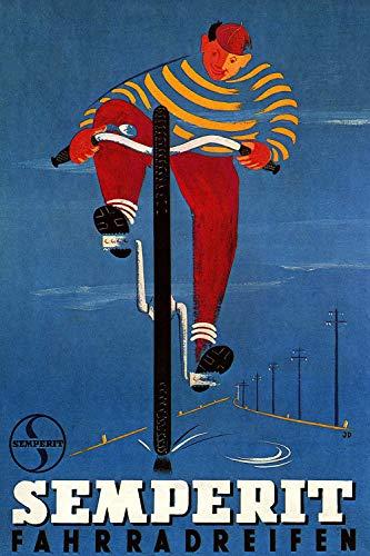 KEAPSIGN Retro-Blechschild – Semperit Fahrradreifen: Cycling in the Sky Werbung – Vintage-Schild, klassisches Poster, Wanddekoration, 20 x 30 cm