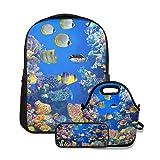 Conjunto de mochila escolar,Acuario colorido,mostrando diferentes peces nadando,con bolsa de almuerzo y estuche para lápices para mochila para adolescentes