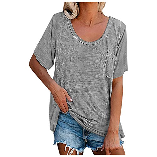 HAVTP Short Sleeve Shirts For Women,Women's Casual Solid Color Tops Fashion Pocket Round Neck Tunic Blouse T-Shirt(Gray:3X-Large)