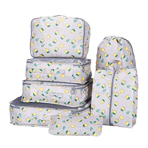 Packing Cubes 7 Sets Travel Luggage Organizers with Waterproof Shoe Storage Bag Compression Pouches(Lemon Grey)