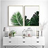 Póster de lienzo con hojas verdes, pintura en lienzo, carteles e impresiones de Palm Banana, decoración moderna para el hogar, 2 piezas 40x60cm sin marco