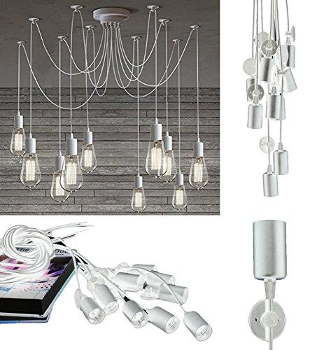 takestop® lamp 12 pendant WS_DD04 schijnwerper wit SOFFITTO ophanging verstelbare hanglamp modern design E27