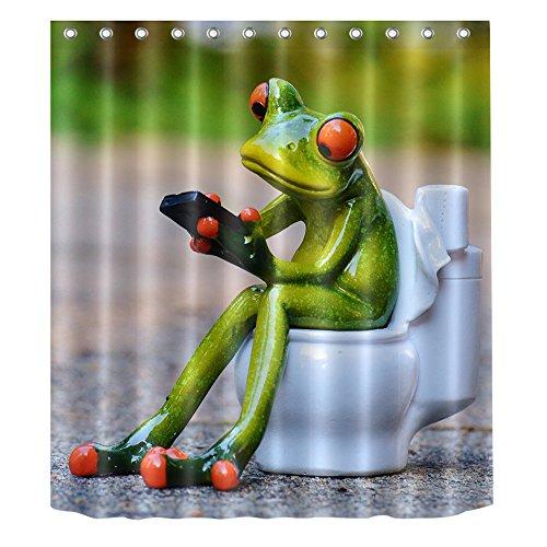 Süß Frosch wasserdicht Bade-Duschvorhänge, antibakteriell & schimmelresistent, Polyester Bad Vorhang Dekor, Frog 04, 180x200