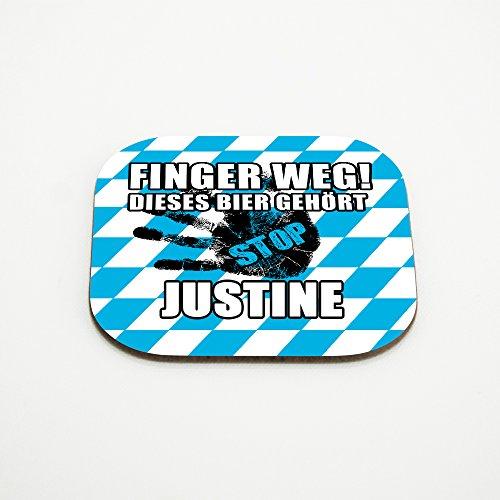 Untersetzer für Gläser mit Namen Justine und schönem Motiv - Finger weg! Dieses Bier gehört Justine