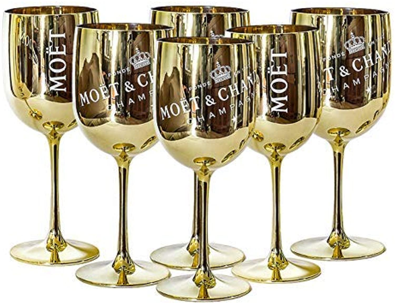 Moet and Chandon - Copas de champán (plástico, 6 6 6 unidades), Color dorado  Tu satisfacción es nuestro objetivo