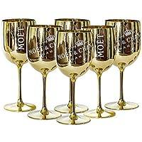 Moet and Chandon - Copas de champán (plástico, 6 unidades), color dorado