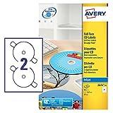 Avery J8676-25 Self-Adhesive Full Face CD Labels, 2 Labels Per A4 Sheet