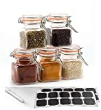 24 Pack - 3.4 Ounce Mini Square Glass Spice Jar with Orange Flip-Top...