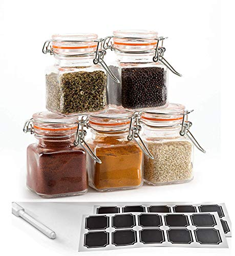 3.4 oz Mini Glass Spice Jar with Flip-Top Gasket