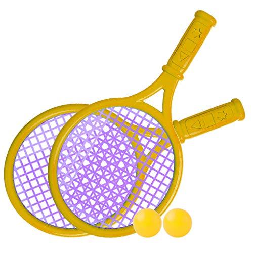 Yxiang Los niños plásticos de la Raqueta de Tenis juegan los Deportes al Aire Libre Interactivo Sistema de la Raqueta de Tenis del Juguete de la Playa (Amarillo)