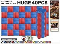 エースパンチ 新しい 40ピースカラーコンビセット赤と青 500 x 500 x 50 mm ウェッジ 東京防音 ポリウレタン 吸音材 アコースティックフォーム AP1134