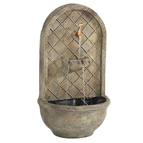 Sunnydaze Messina Outdoor Wall Water Fountain - Waterfall Wall Mounted Fountain & Backyard Water Feature with Electric Submersible Pump - Florentine Stone Finish - 26 Inch