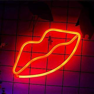 Enseignes au néon en forme de lèvre, néon à LED pour fournitures de fête, accessoire de décoration de chambre de filles, d...