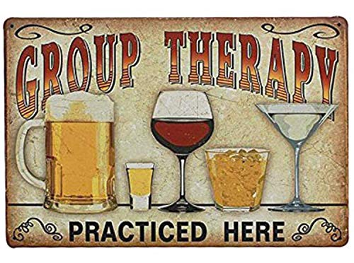 "UNIQUELOVER Bar Signs, Group Therapy Practiced Here Retro Vintage Metal Tin Signs for Home Bar Decor 12"" X 8"""