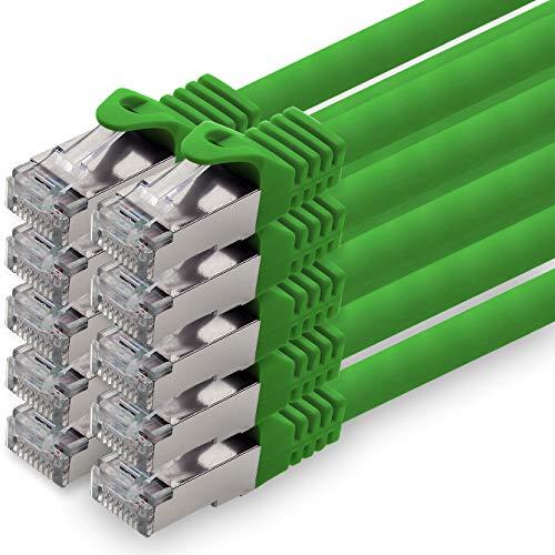 0,25m - grün - 10 Stück CAT.7 Netzwerkkabel Patchkabel SFTP PIMF LSZH Gigabit LAN Kabel 10Gb s cat7 Rohkabel mitRJ45 Stecker Cat6a kompatibel zu CAT5 CAT6 cat7 cat8