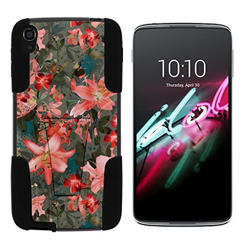 Compatible with Alcatel One Touch Idol 3 Case (5.5) [Gel Max] Dual Layer Hybrid Silicone Hard Shell Case Kickstand by TurtleArmor - Captivating Pink Floral