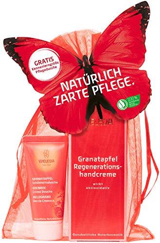 WELEDA Granatapfel Schmetterling Geschenk Set 2020 - Naturkosmetik Geschenkset bestehend aus Granatapfel Regenerations-Handcreme und Mini Granatapfel Schönheits-Dusche im schönen Organza Säckchen