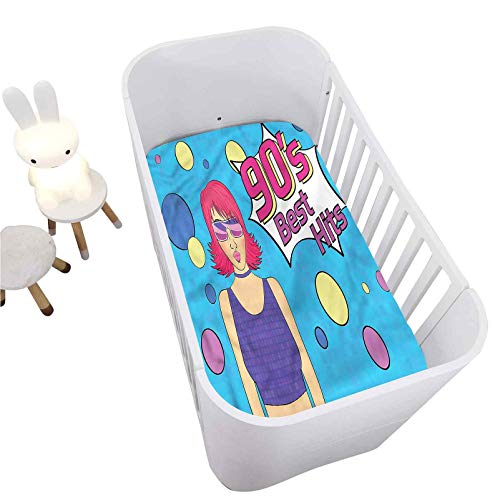"90s Fitted Crib Sheet,Disco Girl 90s Best Hits Phrase Decorative Microfiber Toddler Sheet Portable Crib Mattress Topper for Baby Boys Girls,Ultra Soft Jersey,Full Standard,28"" x 52"""