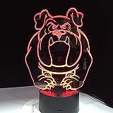 Coloridos Bulldog Pugs Dog Night Lights 3D Visual Dormitorio para niños Led Pet Lámpara de escritorio Lámpara táctil creativa Iluminación Regalos