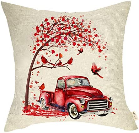 Fjfz Spring Farmhouse Decorative Throw Pillow Cover Vintage Red Truck Sign Rustic Cardinal Country product image