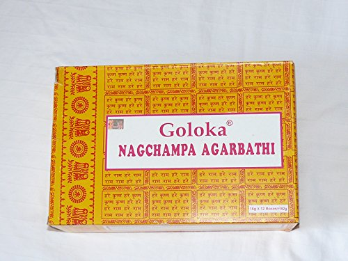 Goloka Nagchampa Agarbathi, 12scatole di incenso da 16 g, per un totale di 192g