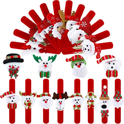 Elcoho 24 Pieces Christmas Slap Bracelets Xmas Slap Bands Party Toys Gifts with Santa Claus Snowman Reindeer Bear Styles for Classroom Exchange Gifts or Christmas Party Favors