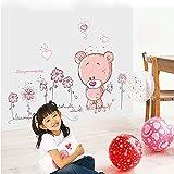 ufengke Niedliche Bären Schönen Blumen Wandsticker, Kinderzimmer Babyzimmer Entfernbare Wandtattoos Wandbilder