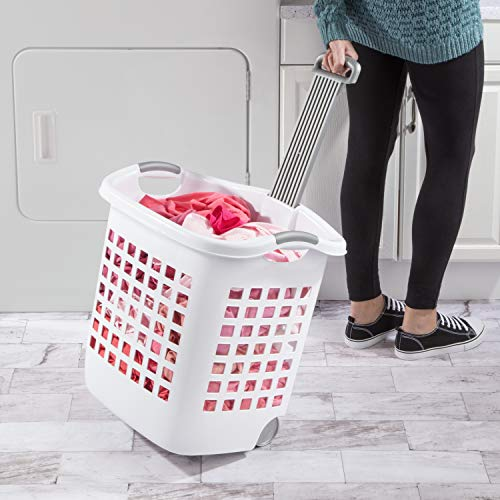 Sterilite 12248004 Laundry Basket, 62 L, White, Pack of 4