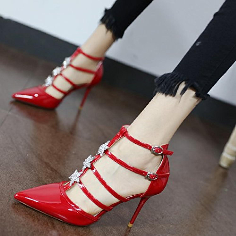 Xue Qiqi Court Schuhe Mdchen High Heels Fein mit Fine Sterne Wasser Bohren Stilvoll bemalten Leder Spitze Klammer mit Einzelne Schuhe