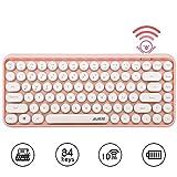 Teclado Bluetooth inalámbrico, lindo teclado compacto Mini de 84 teclas, tecnología de conexión inalámbrica Bluetooth de 2,4 GHz, teclado redondo retro ABS, panel mate, diseño ergonómico (rosa)