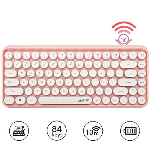 Tastiera Bluetooth Wireless, Simpatica Tastiera compatta Mini a 84 Tasti, Tecnologia di connessione Bluetooth Wireless a 2,4 GHz, Retro keycap Rotondo ABS, Pannello Opaco, Design ergonomico (Rosa)
