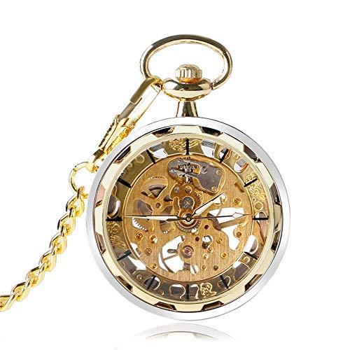 J-Love Reloj Steampunk para Hombres y Mujeres, Relojes de Bolsillo mecánicos de Cuerda Manual, Colgante Negro de Bronce Dorado Plateado con Fob Chian