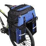 Wildken Bolsa Bicicleta Pannier 3 in 1 Multifuncional Alforja Maletero Impermeable 75L Bolsa para Maletero de Bicicleta Extensible Bolsa de Asiento Trasero (Azul)