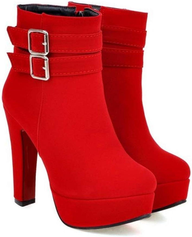 Women's Thick Sole Buckle High Heel Short Boots Side Zip Platform Ankle Booties