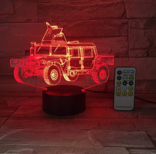 Militärwagen Auto 3D Optische Täuschung Tischleuchte Stimmung Lampe Touch Fernbedienung 7 Farben Home Light Neuheit Geschenke 3D