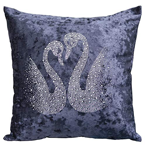 Wedding Diamond-Studded Swan Pillowcase Plush Gold Velvet Fabric Wear-Resistant Washable Antibacterial Breathable Bed Hotel Sand Delivery Hidden Zipper Removable and Washable (Blue 45x45cm 1pcs)