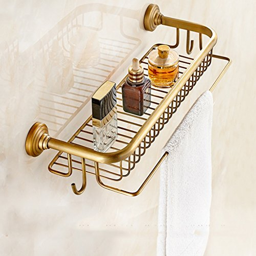 Racks de salle de bain rétro style européen Tous les étagères de protection en unilatéral en unilatéral en bronze/salle de bains (Couleur : B)