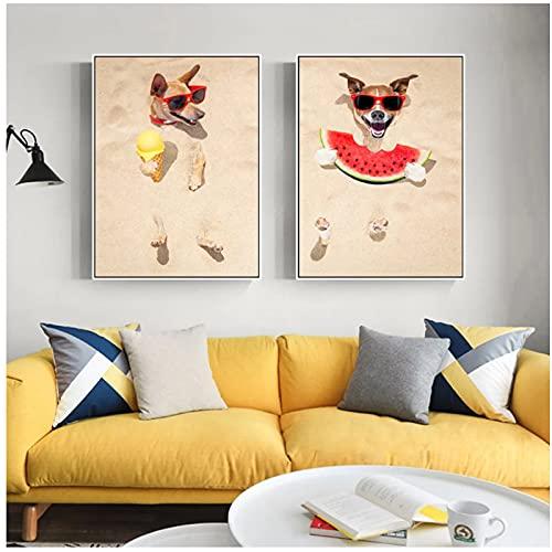Mmpcpdd Leinwand Malerei Druck Lustige Rote Sonnenbrille Hund Essen Wassermelone EIS Poster Tier Wandkunst Bilder Wohnzimmer Wohnkultur -50X70Cmx2 Kein Rahmen