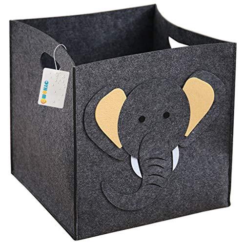 OYHOMO Faltbare Aufbewahrungsbox Kinderzimmer Filz Aufbewahrungskorb Kinder Spielzeugkiste Quadratischer Filzkorb Faltbox Tiere Filztasche - Elefant