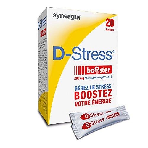 Synergia ➠ D-Stress Booster ➠ Magnésium hautement assimilé ➠ Formule exclusive de citrate de magnésium, taurine, vitamines B ➠ 20 sachets