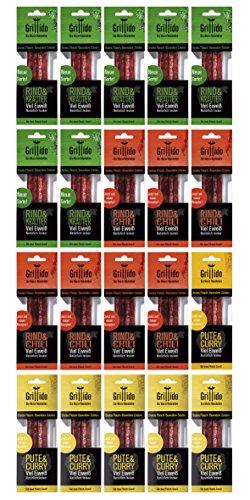 Proteinriegel Fleisch-Snack   Rind & Kräuter + Rind & Chili + Pute & Curry   Perfekt für Sport, Wandern, Büro und Unterwegs   25g Eiweiß je Pack. 77% weniger Fett. Keine Zusatzstoffe. 20x 2er Pack.