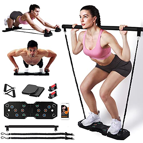 GLACUS Home Gym Workout Equipment, Portable Full Body Exercise Equipment for Men and Women, Fitness Equipment with Pilates Bar Resistance Bands Ab Wheel