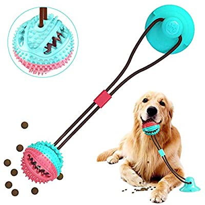 Suction Cup Dog Toy, Multifunction Pet Molar Bite Toy, Dog Ropes Toy, Interactive Puppy Molar Training Rope, Self-Playing Rubber Chew Ball With Suction Cup, For Puppy Dental Care Teeth Cleaning (blue)