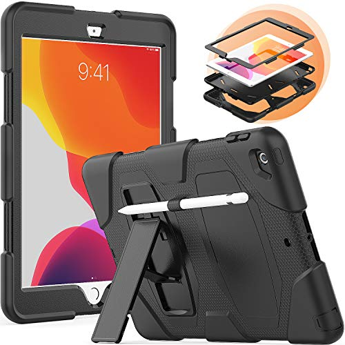 Timecity iPad 10.2 Case, 2020/2019 New iPad 8th/ 7th Generation Case with Built-in Foldable Kickstand Stylus Holder, Kids Friendly Dropproof Scratch Resistance iPad Protector Case, Black