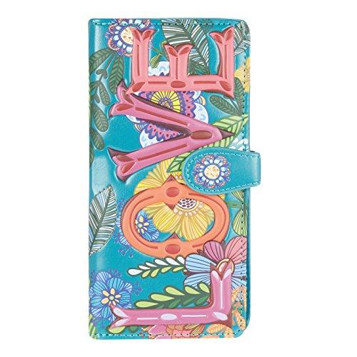 Shagwear Junge-Damen Geldbörse, Large Purse Designs: (Blumen Liebe Türkis/Love Floral)