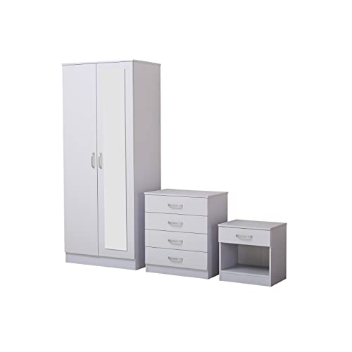 Fairpak Gladini High Gloss Mirrored 3 Piece Bedroom Furniture Set Includes Wardrobe 4 Drawer